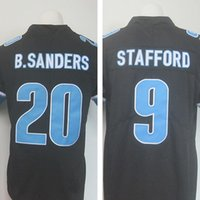 Wholesale mens Matthew Stafford Embroidery Logos Barry Sanders Black Color Rush Limited Jersey Stitched American football jerseys