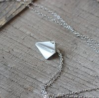 aeroplane charms - Origami Paper Plane Necklace Aeroplane Pendant Modern Minimalist Folded Airplane Jewelry dainty woman gift idea C377N