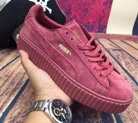 Wholesale 2016 new Rihanna x PuMas Leadcat Fur Slides Black White Slide Sandal Womens Slippers retail Fashion PuMas Rihanna sneaker EUR