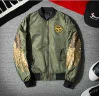 angels baseball clothing - kanye west spring and autumn Men s and women s angels wings embroidered Eagle jacket baseball clothes motorcycle air force one jacket