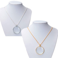 beautiful pendant designs - High Quality Beautiful Design Gold Silver Chain New Necklace x w Glass Lens Pendant Necklace Magnifier