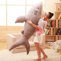 énorme poupée achat en gros de-2017 160cm JUMBO Soft Simulated Animal Shark Peluche Toy 63 '' Huge Stuffed Sharks Kids Play Doll Pillow Baby Gift