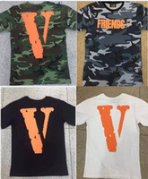Wholesale 2017 New fashion summer Vlone For Know Wave friends letter big V print ASAP Rocky short sleeve t shirt tee