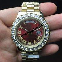 al por mayor cara reloj original-Roles AAA zafiro 18K relojes hombres de lujo marca automática de lujo DayDate Red cara hombres grandes reloj de diamantes mecánicos originales relojes de pulsera hombre