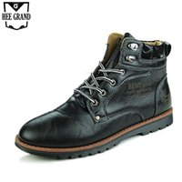 ankle safe - HEE GRAND Man s Solid Patchwork Rivets Ankle Boots Men Handmade PU Leather Shoes Men Classic Lace Up Safe Working Boots XMX640