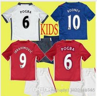 Wholesale 2016 Top Quality kids MancHester Jerseys Shorts patch UnITED Ibrahimovic POGBA ROONEY football jersey