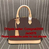 bb handbag - Alma L M53151 PM MM BB key bell GARANCE Rubis kaki womens genuine VERNIS leather handbag tote shell bag luxury boston M42401 M90169