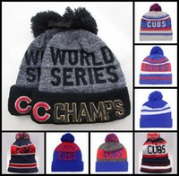Wholesale Chicago Cubs Beanie Champs Pom Knit Hats World Series Sports Caps For Men Women Winter Wool Beanies Mix Order DHL