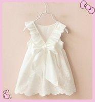 al por mayor niña de la colmena blanca-El nuevo vestido del vestido del Bowknot de la colmena del algodón del bebé 100% de los niños de la muchacha del verano de las faldas del vestido de princesa Sleeveless Ahueca hacia fuera la falda del vestido