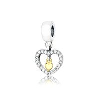 Wholesale Sparkling Heart Love Charm Bead Sterling Silver for European Bracelet with Little Heart Inside with Gold Plated Charms