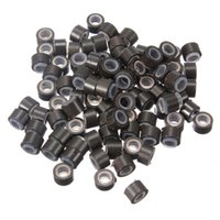 Wholesale Silicone Lined Micro Rings Beads Loops Tip Hair Clips Hair Extensions mm Dark Brown Color