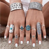 Wholesale Olaru Jewelry Hot Set Trend Vintage Geometric turquoise Flower Triangle Crystal Cute Finger Ring Woman SALE