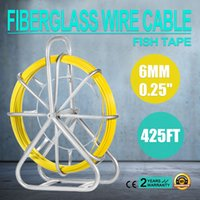 achat en gros de bande de fil-VEVOR Fish Tape Fibre de verre 6MM 425FT Duct Rodder Fish Tape Continuous Fiberglass Wire Cable Running with Cage and Wheel Stand (425FT)