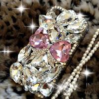 al por mayor caja del diamante iphone duro-Diamante Bling de lujo de 3D hecho a mano Rhinestone flor Bowtie Crystal cubierta dura de la caja para la piel para el iPhone 5 5S SE 6 6S más 7 7 más la caja del teléfono