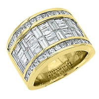 baguette diamond band ring - MENS PRINCESS BAGUETTE CUT DIAMOND RING WEDDING BAND KT YELLOW GOLD