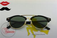 achat en gros de dames dernières lunettes de soleil polarisées-Goutte d'expédition de la plus nouvelle lunettes de soleil polarisées de verre de dame de style de pont double, demi-jupes unisexes Lunettes de soleil de marque de luxe de golf d'éblouissement