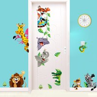 Wholesale Syene new cartoon cute Jungle forest anmials Elephant giraffe tiger monkey wall sticker kids bedroom wall decals home decor walllpaper