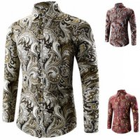 Wholesale 2017 new style Golden graphic print button printed shirt Man han edition cultivate one s morality fashion long sleeved shirt