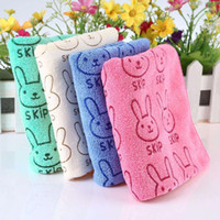Wholesale 50 x cm Cute Children Cartoon Animal Rabbit Pink Blue Light Yellow GreenLetter Printed Towel Comfortable Bath Shower Products