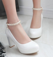 Wholesale Fashion new style bride shoes chunky heels buckles pu shoes round head high heel wedding shoes sexy prom evening party shoesshuoshuo6588