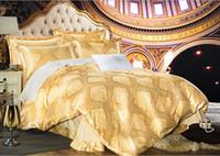 Wholesale European style Cotton Satin Jacquard four piece suit cotton bedding large queen Quilt cover cm cm New AB version design