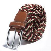 La correa de cintura tejida del estiramiento de la hebilla del metal de la tela plana de la lona de las mujeres calientes de la venta colorea la NUEVA