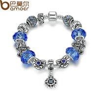 Nueva pulsera de moda Strand plata color azul cuentas de vidrio serpiente cadena pulsera con cuentas encantos para las mujeres PA1485