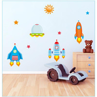 baby boy live - PVC cartoon spaceship pvc removable wall stickers for kids room boys baby nursery cartoon wall decals home decorations
