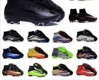 Wholesale 2017 big Mens Football Boots Neymar Hypervenom Phantom JR Magista Obra Mercurial x EA SPORTS Superfly CR7 FG Soccer Cleats High Ankle