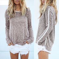 Regular bamboo stitch knitting - Sweaters Autumn and Winter Long Sleeve Gray White Stitching Women Sweater Female Casual Bamboo Cotton Pullover