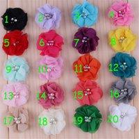 accessories for babies garment - Chiffon Flower cm Bows Sewing Pearl Garment Accessories Diy For Baby Headband Headdress Hair Bows Supply
