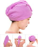 Wholesale Magic Quick Dry Microfiber Hair Towel Hair drying Ponytail Holder Cap Towel Lady Microfiber Hair Towel hat cap High quality