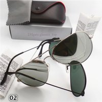 Wholesale Classic Men Sunglasses Gold Silver Metal Frame Brand Design UV400 Pilot Glass Lens Sun Glasses High Quality Mirror with All Case