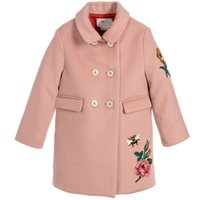 Wholesale WlMONSOON Girls Coats and Jackets Embroidery Flower Baby Girl Woolen Coat Winter Kids Jackets for Girls Clothes Children Outerwear