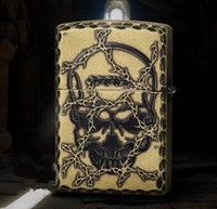 antique chisels - The new wind kerosene lighter Han edition chisel edge Antique copper skulls in the thorns The devil door