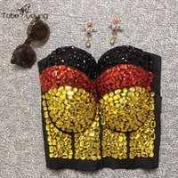 beaded cami - High Quality Handmade Sexy Spaghetti Straps Push Up Bodycon Vintage Retro Rhinestone Beaded Cami Top Blusa Corset Bustier