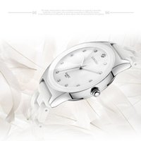 Wholesale Luxury White Ceramic Water Resistant Classic Easy Read Women Dress Wrist Watch Top Quality Lady Rhinestone watch