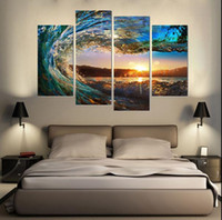 More Panel Digital printing Fashion Framed 4PCS Seascape Wave,Pure Handpainted Huge Modern fashion home Wall Deco Art Oil Painting On canvas Mulit sizes Free Shipping arch