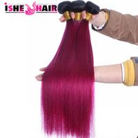 Wholesale New Arrival Brazilian Ombre Human Hair Extensions Bundles B Red Two Tone Unprocessed Ombre Straight Hair Weave