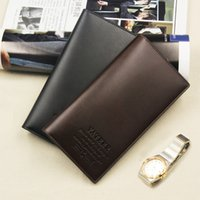 Cheap Fashion Vintage PU Mens Leather Long Famous Brand Wallets Leather Business Card Holders Designer Luxury Wallet Men Clutch Gift Bag Z505