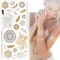 Wholesale Tattoo Sticker Temporary Sticker Painted Body Art Henna Glitter Metal Fake Gold Silver Flash Bracelet Portable Fashion Design