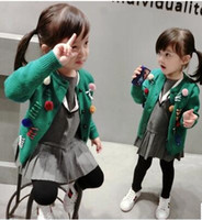 Wholesale 2016 New arrival Children clothing casual sweater spring and Autumn girl cardigan sweater green color