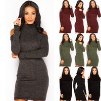 Wholesale Cut Out Knit Sweater - Womens Cowl Neck Winter Cut Out Shoulder Clubwear Long Sleeve Turtle Neck Sweater Jumper Knit Bodycon Pencil Midi Dress