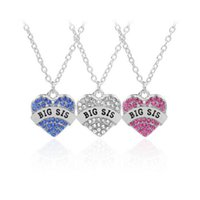 Bohemian animal best friends - Crystal Heart Big Sis Middle Sis Little Sis Rhinestone Baby Necklace Best Sister Heart Love Pendants for Women Necklaces Best Friend Jewelry