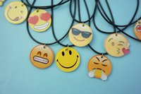 Wholesale 1 Styles New Emoji Picture Pendant Necklace Leather Chain Fashion Emoticons Cabochon Collars for Women Fine Jewelry