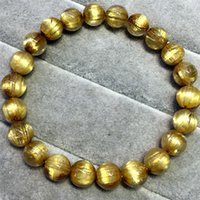 beaded hair strands - High Quality Natural Genuine Arrange Titanium Gold Hair Rutile Quartz Cat s Eye Stretch Bracelet Round Beads mm