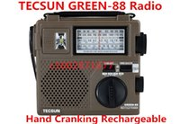 AM / FM Portable Yes Wholesale-TECSUN GREEN-88 GREEN88 FM AM SW full-band economical environmental emergency radio with light Dynamo Hand Cranking Rechargeable