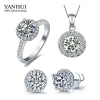Promotion Genuine 925 Sterling Silver Set Bijoux Argent CZ Diamond Ring Collier Boucles D'oreilles Bridal Wedding Jewelry Ensembles TZ001