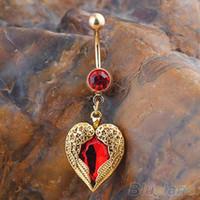 Wholesale Golden Love Heart Dangle Wing Body Piercing Rhinestone Navel Belly Button Ring K3Y