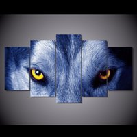 More Panel animal eyes pictures - 5 Set Framed HD Printed Wolf Eyes Group Picture Wall Art Canvas Print Decor Poster Canvas Oil Painting